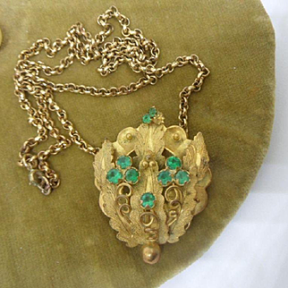 Scarce Antique Georgian Genuine Pinchbeck and Green Paste Pendant / Brooch.