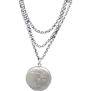 Floral Antique French Art Nouveau Sterling Silver Locket and Long Chain C1905