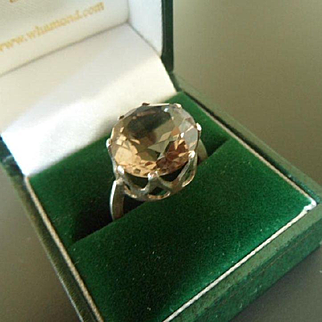 Flashy 1970's Smoky Quartz Topaz and Silver Large Cocktail Ring