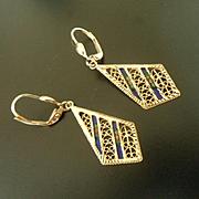 Modern Turkish 14k Gold,Filigree and Enamel Long Drop Leverback Earrings