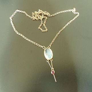 Sublime Vintage 20's Art Deco 9ct Gold Moonstone and Ruby Lavalier Necklace