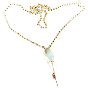 Sublime Vintage 20's Art Deco 9ct Gold Moonstone and Ruby Lavalier Necklace - Red Tag Sale Item