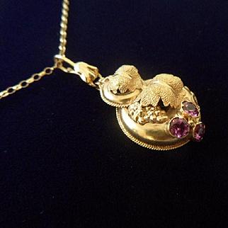 Antique Georgian 15ct Gold and Almandine Garnet Pendant. Later 9ct Gold Chain.