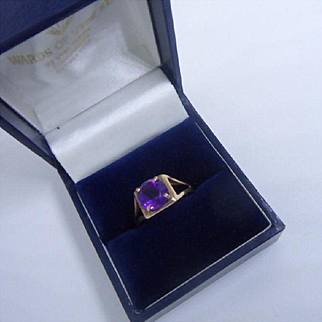 Vintage 1970's Hallmarked 9ct Gold and Purple Amethyst Cocktail Ring
