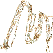 Super Antique Edwardian / 20's Two Tone Rose Gold Filled and Steel Long Guard Watch Chain