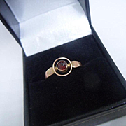 Simple Late Edwardian English Hallmarked 9ct Rose Gold and Garnet Target Ring 1916