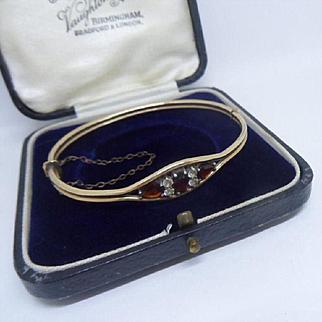 Pretty Antique Edwardian Garnet and White Paste Rose GP Bangle Bracelet
