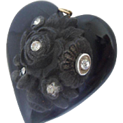 Special Antique Victorian Whitby Jet,Bog Oak and White Paste Heart Pendant
