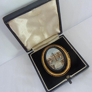 Finest Antique Victorian Pictorial Micro Mosaic and 18ct Gold Brooch Pin