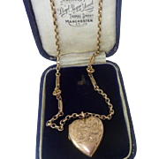 Lush Antique Edwardian HM 9ct Rose Gold Heart Photo Locket and Fancy Chain.