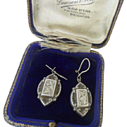 Original Antique Victorian Repousse Sterling Silver Dangling Drop Ladies Earrings