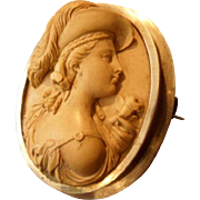 Incredible Antique Early Victorian High Profile Lady Bust Lava Cameo Brooch