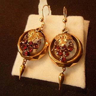 Delicious Antique Victorian Almandine Garnet Dangling Drop Earrings