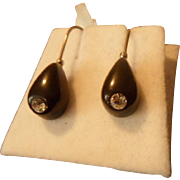 Neat Antique Late Victorian Whitby Jet and Paste Hook Earrings