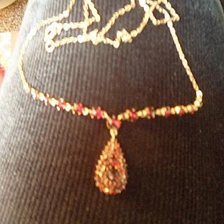 Delicate Antique Victorian Bohemian Garnet 9ct Gold Lavalier Necklace