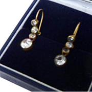 Darling Antique Edwardian English 9ct Gold and White Paste Dormeuses Earrings