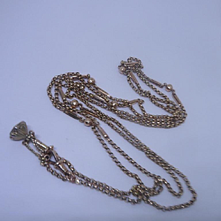 Superb Antique Victorian 9ct Rose Gold, Fancy, Long Guard Chain and Watch Key Fob