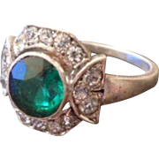 Pristine Antique Edwardian Emerald Green and White Glass Paste Silver Cocktail Ring