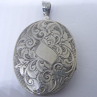 Large Antique Victorian , Oval, Silver Locket