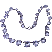 Sparkling Antique Edwardian Rock Crystal Riviere Necklace