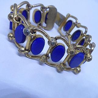 Rare Antique Georgian Gilt and Lapis Lazuli Link Bracelet (Very Small)