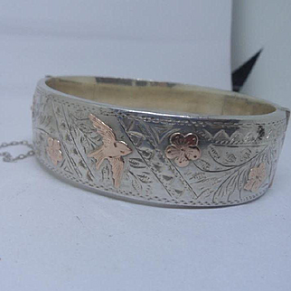 Sweet Vintage Victorian Style HM Silver & 9ct Gold Flash Bird Bangle Bracelet