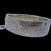 Sweet Vintage Victorian Style HM Silver & 9ct Gold Flash Bird Bangle Bracelet