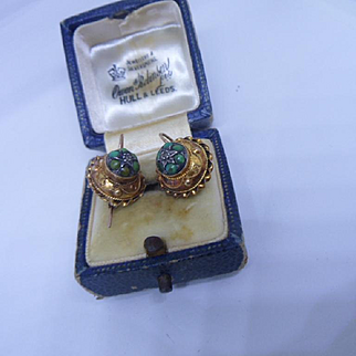 Awesome Antique Victorian 15ct Gold,Turquoise and Mine Cut Diamond Hook Earrings
