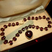 Rich Antique Edwardian Purple Glass Paste Riviere & Heart Drop Necklace