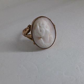 Antique Edwardian HM English 9ct Rose Gold Blush Pink Coral Cameo Ring