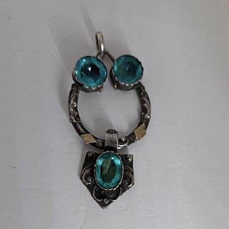 Gorgeous Antique Georgian Aqua Blue Paste and Silver Pendant.