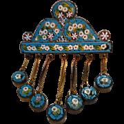 Amazing Antique Victorian Era Micro Mosaic Tassel Brooch
