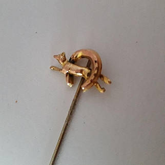 Neat Antique Victorian 15ct Gold Mens Fox Hunting Stick Pin