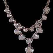 Sparkling Antique Edwardian White Paste and Silver Metal Festoon Lavalier Necklace
