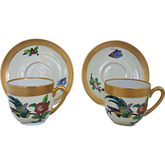 Pair of Pickard Pheasant Cup and Saucers..Limoges?