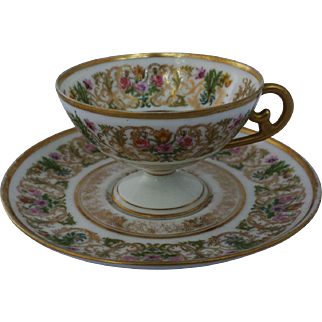 French Limoges Pedestal Cup and Saucer Ahrenfeldt