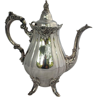 Baroque Silver Plate Coffee Pot by Wallace, Excellent
