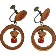 Vintage Japanese Figure earrings