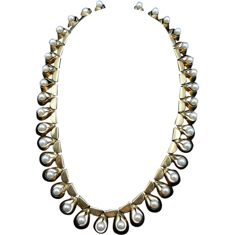 vintage 14 karat gold and pearl necklace from shersbounty