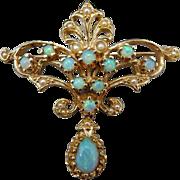 Estate 14 Karat Opal and Seed Pearl Pin/Pendant