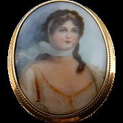 Estate Hand Painted Porcelain Portrait Brooch