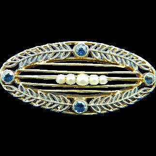 Vintage Art Deco 14 Karat gold pin