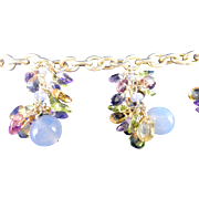 Italian 14 Karat Yellow Gold Multi-Colored Stone Bracelet