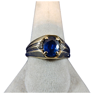 Mens Sapphire and Diamond Ring