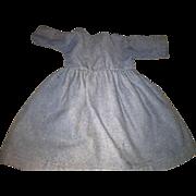 Antique Dusty Blue Wool Doll Dress