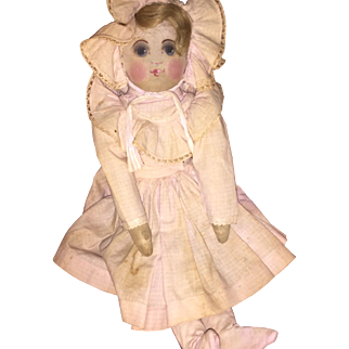 Fabulous Antique Babyland Rag Cloth Doll All Original
