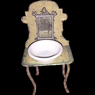 Antique German Tin Dollhouse Miniature Washstand