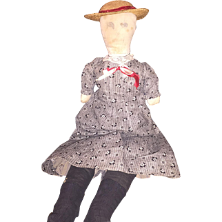 Antique American Cloth Ink Face Rag Doll Old Clothing