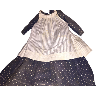 Antique Navy and White Polka Dot Prairie Doll Dress With Old Apron