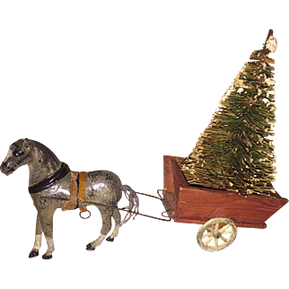 Antique German Paper Mache Miniature Horse With Wooden Pull Cart